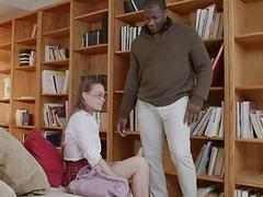 Nerd teen Kacey Lane fucked by black man