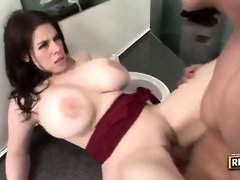 Thick boobed gal, Daphne Rosen is getting screwed in a public rest room and liking it a bunch