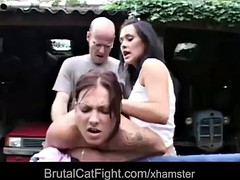 Hussy catfight pussy causing gets fucked hard and spanekd