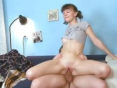 Young gal gets her pussy ready for old hard cock