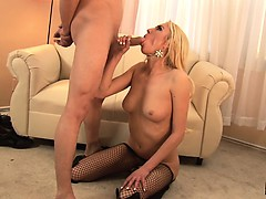 Buxom Victoria White has a hung stud shoving his rod down her throat