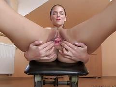 Sporty babe Silvie Deluxe spreads her gaping cunt all alone