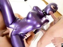Restrain Bondage Fetish Chick - Euro Three-Way BIG BLACK COCK Piper --- Ample Mounds Mack