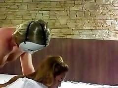 Man in mask fucks handcuffed ladyboy in the ass