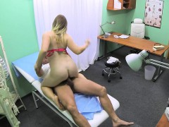 Bigboobed patient sucks off doctor
