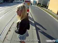 Blonde girl tricked into outdoor sex