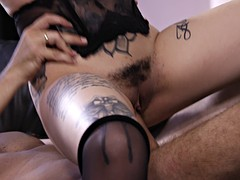 Magnetic brunette in amazing stockings fucks her wild boyfriend