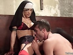 Huge tits shemale nun gets blowjob