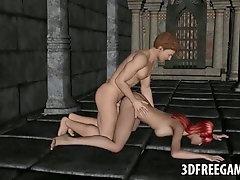 Fleshy 3 DIMENSIONAL toon nun getting her honeypot torn up