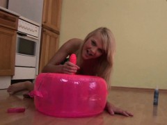 Blonde fills her teen twat with a toy