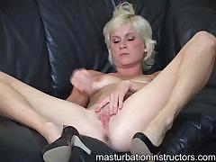 Blonde masturbation teacher is naked while demoing how to