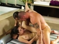 Beauties Abella and Melissa in hot threesome action