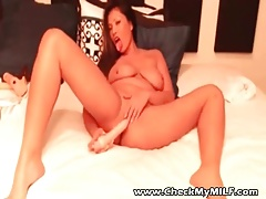 Cehck My MILF Asian wife fucking her ass with dildo