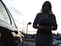 Black and White Dress at Gas Station