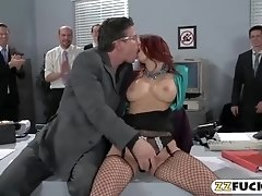 Office babe with big boobs gets assfuck by hard schlong