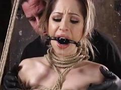 Tied up woman squirts while being toyed BDSM fetish porn