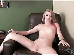 Skinny blonde college girl models bald pussy