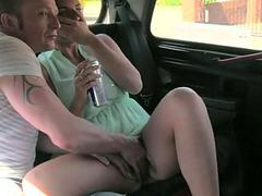 Couple boning with the driver in the cab