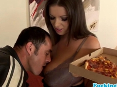 Bigtitted euro slut loves jizz on pizza