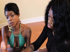 Ebony babes tugging cock in hj threeway