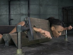 Ebony sexslave pussy toyed while analy hooked