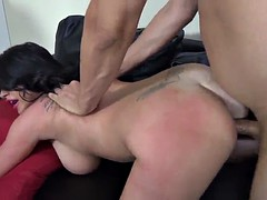 pretty cowgirl with shaved pussy getting banged doggystyle on sofa