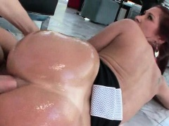 Oiled up hoe taking giant cock deep in ass