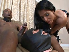 mistress spits bbc cum in slave's mouth