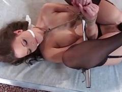 Sub slut nipple clamped and pussy toyed by BDSM master