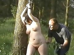 BBW slave is punished and humiliated in outdoor BDSM session