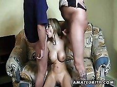 Busty german girlfriend sucks 2 cocks and eats cum