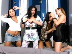 Four innocent tbabes suck each others cocks in TS chain