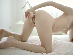 skinny vivian b toys her hairy cooch until she gets off