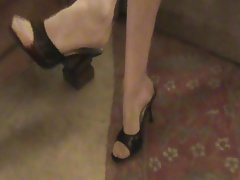Teasing with stockings and mules
