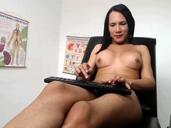Buxom webcam shemale gets drilled in the ass and masturbates