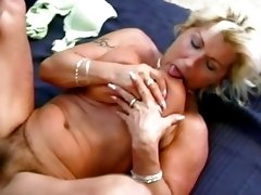 Vintage blonde milf with big tits and hot ass does deepthroat blowjob