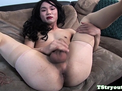 Gorgeous casting ladyboy teases her ass