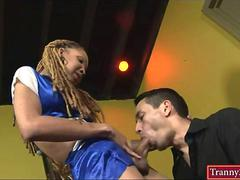 Super slim black tranny Vanilla bangs horny man in his anus
