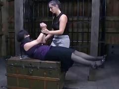 Pretty hot girl has bondage sex with mistress BDSM porn