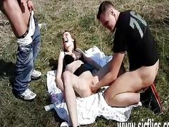 Brutally fisting shameless teen slut in public