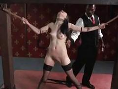 Tied up and clamped slave slut molested by BDSM master