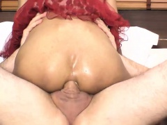 Teen ladyboy Cara asshole fucking bareback on the bed