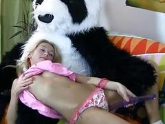 Blonde fucked with her favorite toy