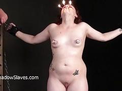 Hot wax punishment and amateur bdsm of crying Isab