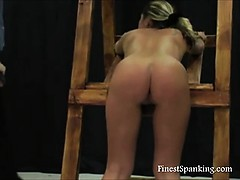 Naughty girl cries as she's spanked