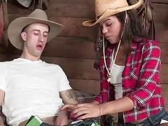 Gabriella is amuse to a big cock cowboy