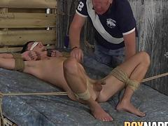 Toy master Sebastian Kane makes his submissive cum hard