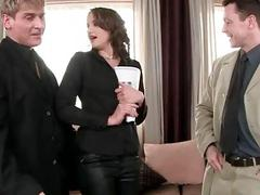 Sexy brunette gets fucked anally by two guys