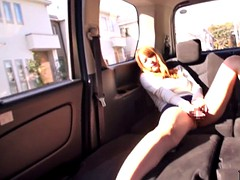 Japanese banged beauty and jizzed in the van