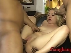 Kinky blonde babe dped by huge black cocks on the couch